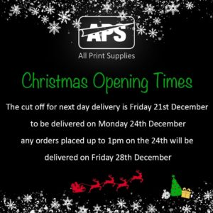 Christmas 2018 and New Year 2019 opening hours, image of white snowflakes falling from over our APS company logo onto the opening hours information beneath.