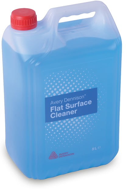 Avery Dennisons' flat surface cleaner in it's 5L rectangular bottle container. You can see the blue cleaning fluid through the transparent container, with a handle grip and distinctive bright red screw cap.