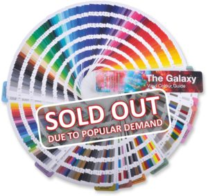 CURRENTLY SOLD OUT DUE TO POPULAR DEMAND - The GALAXY vinyl colour guide exclusive to All Print Supplies, fanned out in a full circle showing all the CAD vinyls colours in our ranges.