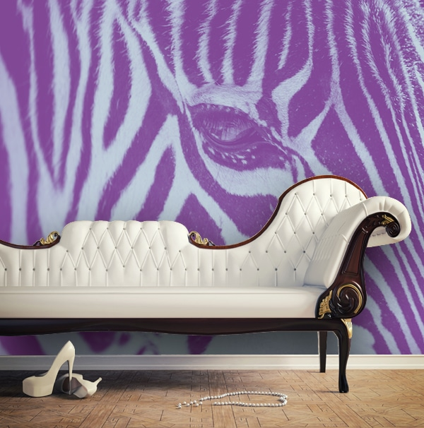 Sihl 2515 design2wall custom printed wallpaper on an interior living room wall with a couch in front of the purple and light blue tone printed zebra stripes design wall covering.
