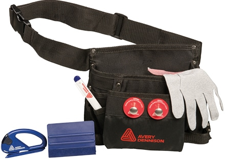 Avery Dennison Complete Application Set for wrapping vinyl graphics, including toolbelt, Avery Dennison magnets, Snitty Vinyl Cutter Tool, Cutter Knife, Squeegee Pro and Application Glove.